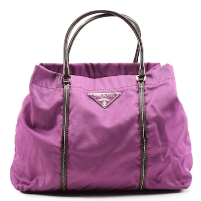 Prada MV633 Tessuto Sport Small Tote in Malva Nylon and Leather