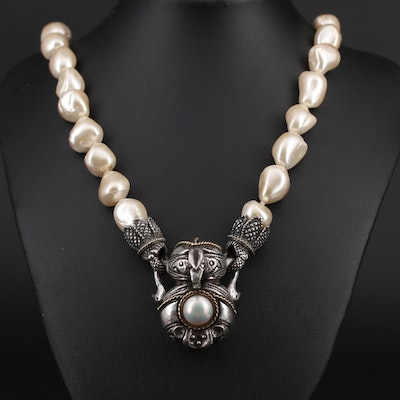 Cultured Pearl Necklace with Sterling Silver and 18K Yellow Gold Accents