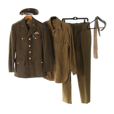 WWII Era Decorated Army Uniform Including Hat, Belt and Tie