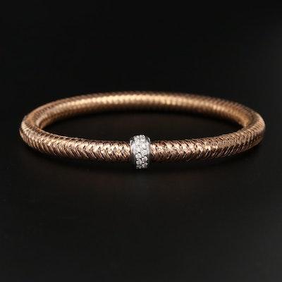 "Roberto Coin ""Primavera"" 18K Rose Gold Diamond Bracelet with White Gold Accent"