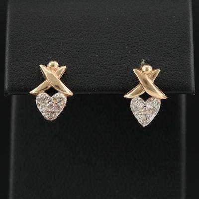 10K Yellow Gold Diamond Heart Earrings