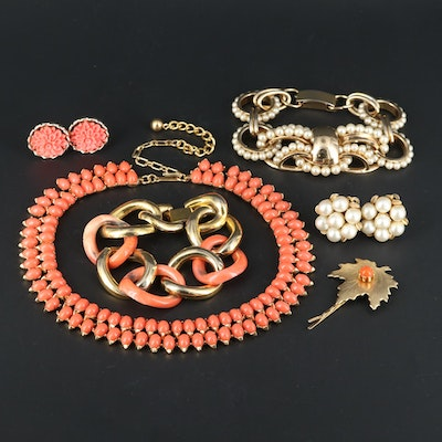 Coral, Pearl and Jasper Jewelry Featuring Trifari and Napier Assortment