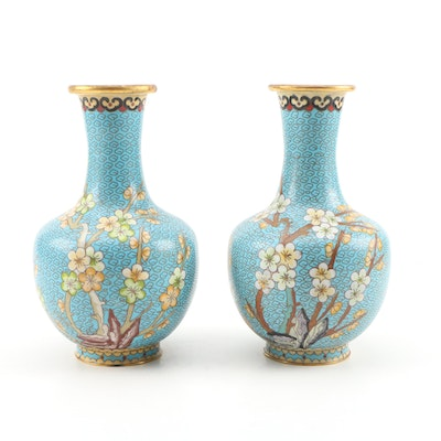 Chinese Cloisonné Vase with Dogwood Motif