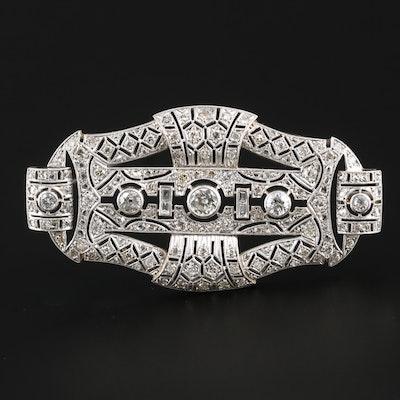 Art Deco Platinum 3.13 CTW Diamond Brooch