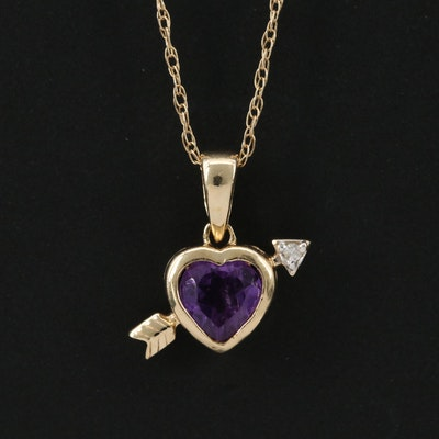 14K Yellow Gold Amethyst and Diamond Heart and Arrow Pendant Necklace