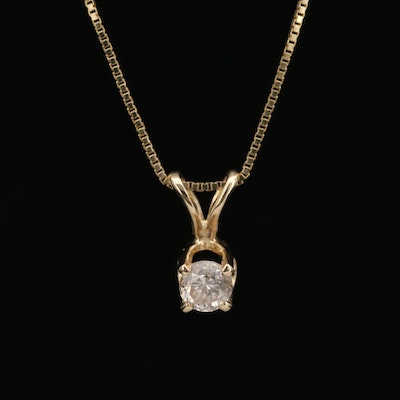 14K Yellow Gold Diamond Solitaire Pendant Necklace