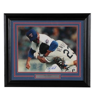 Nolan Ryan Signed Texas Rangers Hall of Fame Framed Photo Print, PSA COA
