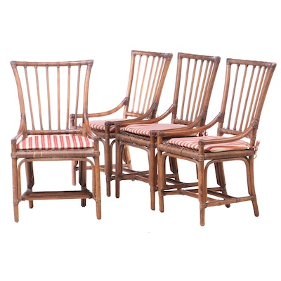 Four Rattan and Wicker Dining Side Chairs, Late 20th Century