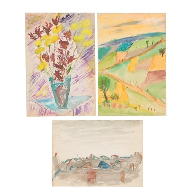 Watercolor and Gouache Paintings, Late 20th Century