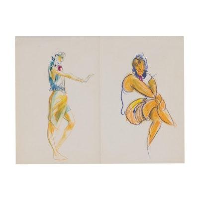 Margaret Voelker-Ferrier Figural Pastel Drawing