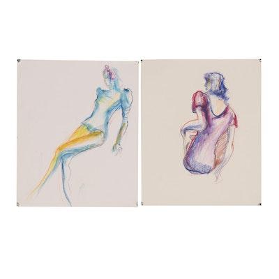 Margaret Voelker-Ferrier Figural Pastel Drawings