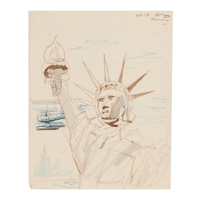 Statue of Liberty Ink Drawing, circa 1955