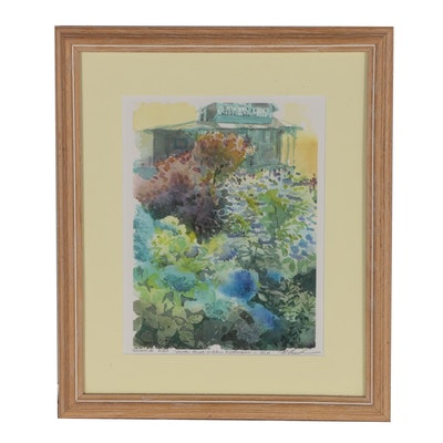 "Margaret Voelker-Ferrier Giclée ""Smoke Bush + Blue Hydrangeas on M.V."""