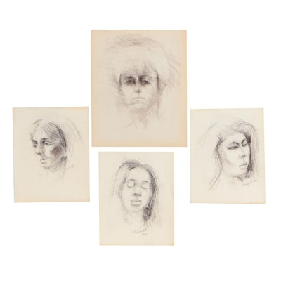 Shirley Resnick Charcoal Studies of Women's Faces