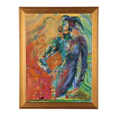 Margaret Voelker-Ferrier Abstract Figural Oil Painting