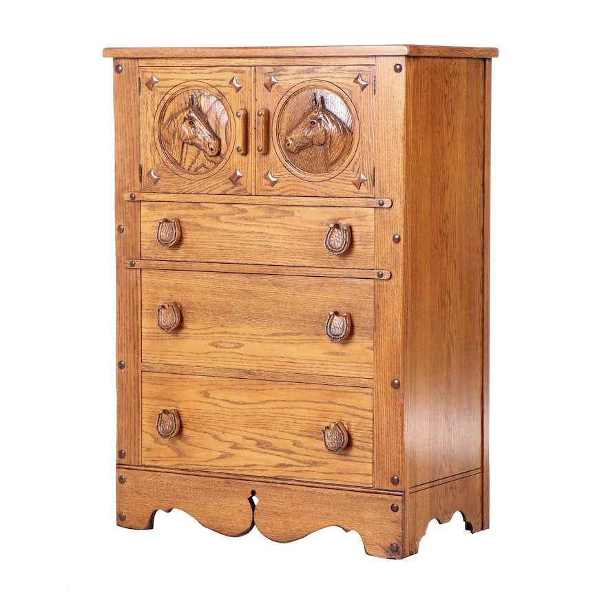 Romweber Oak Equestrian Themed Chest of Drawers, Late 20th Century