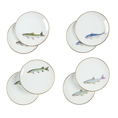 Heinrich & Co. Porcelain Dinner Plates with Fish, Early/Mid 20th Century