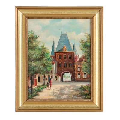 George Jan Dispo Dutch Street Scene Oil Painting