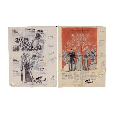 Margaret Voelker-Ferrier Mixed Media Advertisement for Pogue's