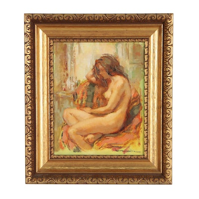 Maryse Ducaire-Rogue Seated Nude Figure Oil Painting