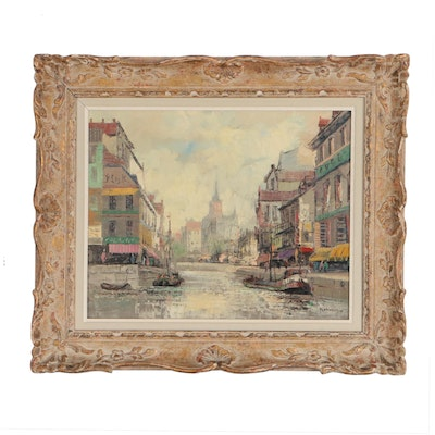 T. Dorschot European Canal Scene Oil Painting, Mid 20th Century