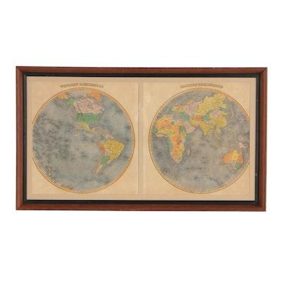 """Hand-Colored World Map Engraving """"Western Hemisphere / Eastern Hemisphere"""""""