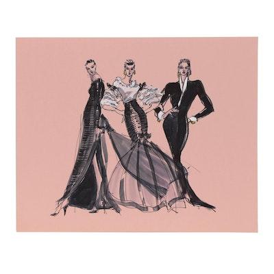 Margaret Voelker-Ferrier Mixed Media Fashion Illustration
