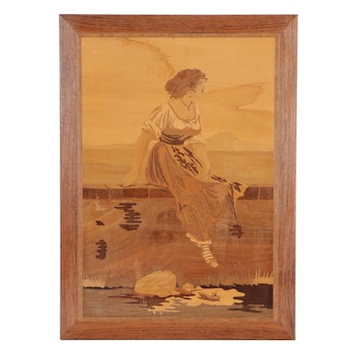 Inlaid Wood Marquetry Panel of Seated Woman