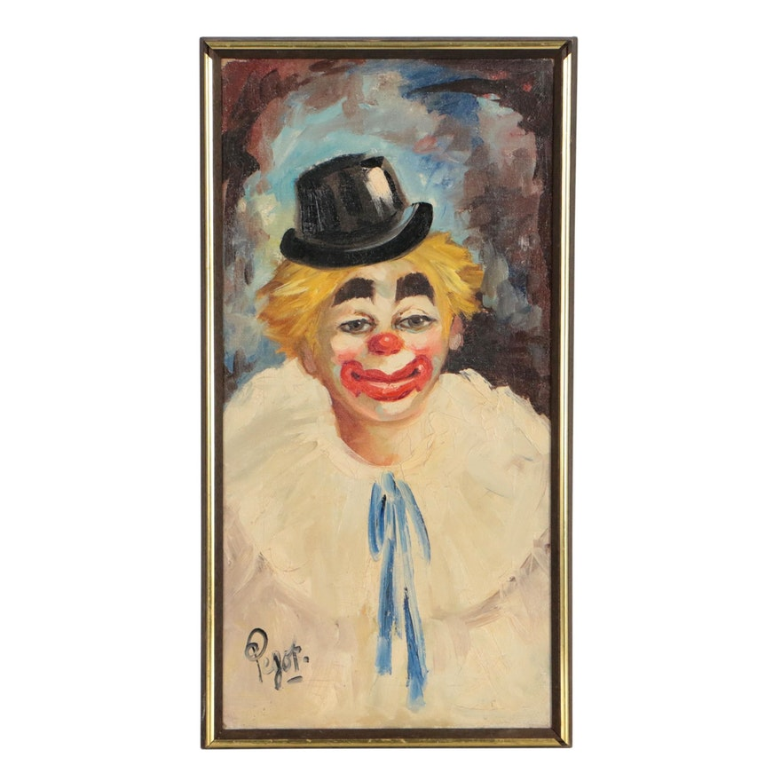 Clown Oil Painting, Mid to Late 20th Century