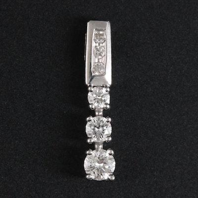 14K White Gold Diamond Drop Pendant
