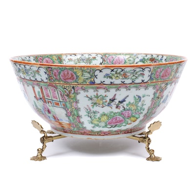 "Chinese Porcelain Hand-Painted  ""Rose Medallion"" Bowl with Stand"