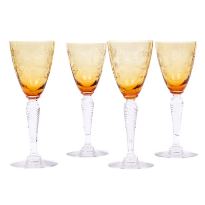 Amber Cut Crystal Cordial Glasses with Air Twist Stems, Early 20th Century