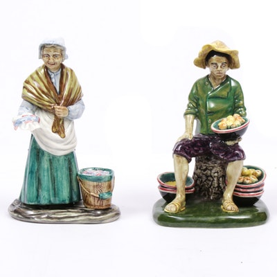"Gort Hand-Painted ""Fruit Vendor"" and ""Fish Vendor"" Porcelain Figurines"