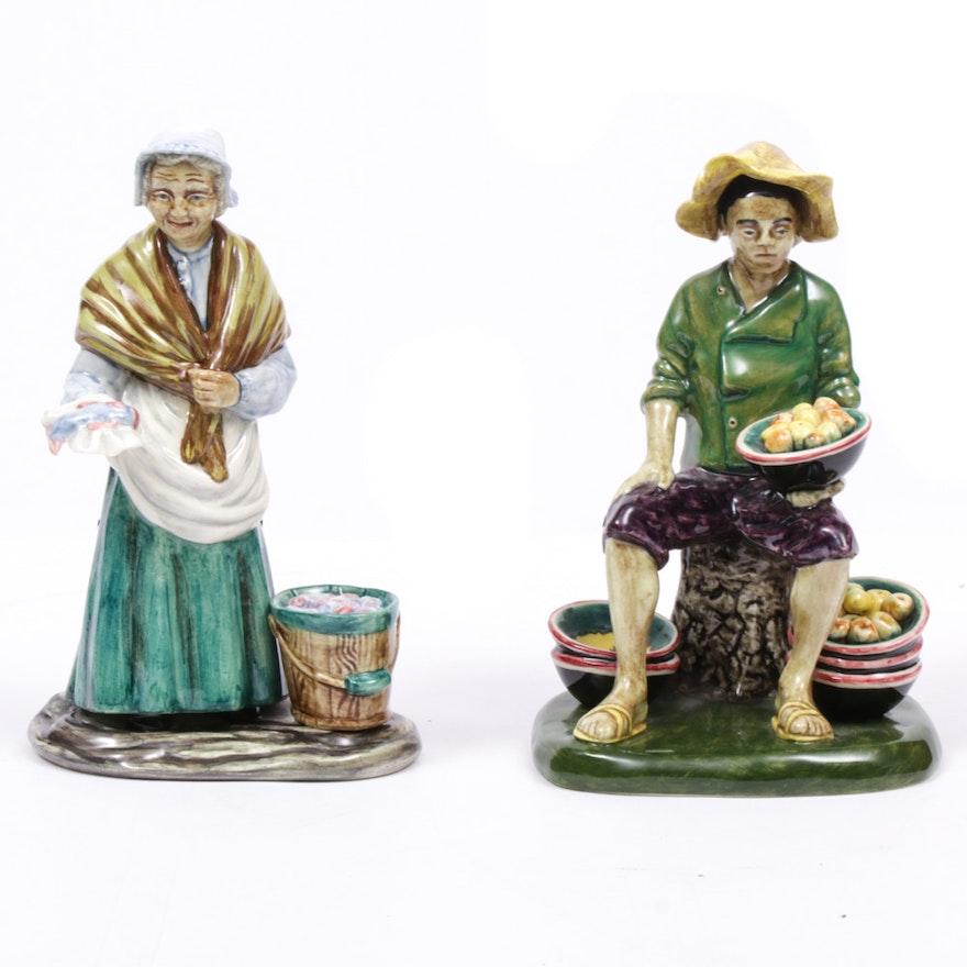 "Gort Hand-Painted ""Fruit Vendor"" and ""Fish Vendor"" Porcelain Figurines"