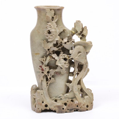 Chinese Carved Soapstone Vase, 20th Century