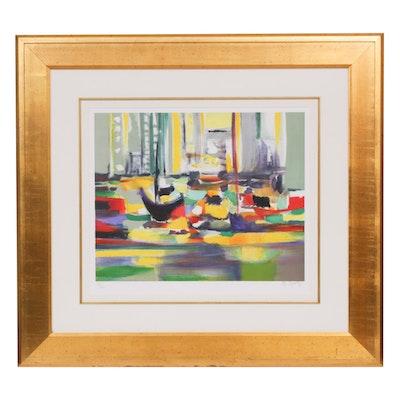"Marcel Mouly Lithograph ""Sampans a Hong Kong"", 2004"