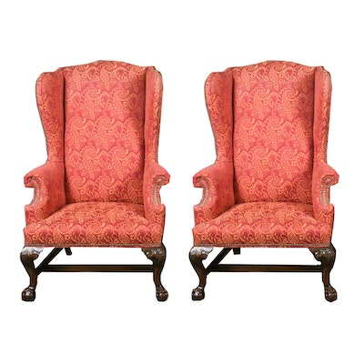 Floral Upholstered Nailhead Trim Wingback Chairs, Mid to Late 20th Century