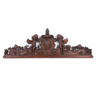 Hand Carved Cherub Wooden Wall Hanging, Mid-Century