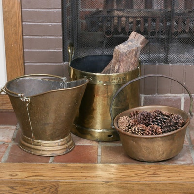 Brass Scuttle Buckets and Firewood Bucket, Mid-20th Century