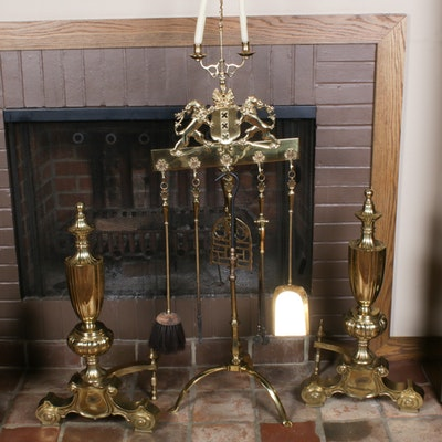 Brass Andirons and Fireplace Accessories, Mid-20th Century