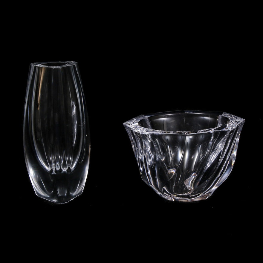 "Orrefors ""Residence"" Bowl and Crystal Bud Vase"