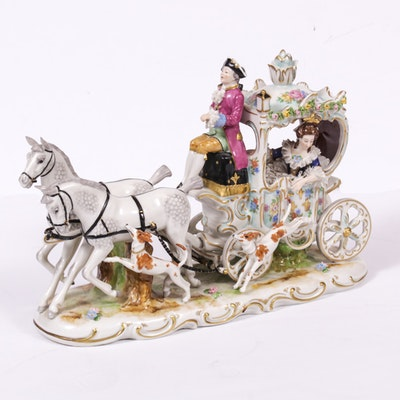 Dresden Lace Porcelain Stagecoach Figurine, 20th Century