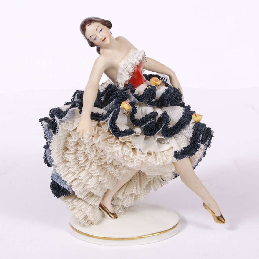 """Dresden Lace """"Melodie"""" Porcelain Figurine"""