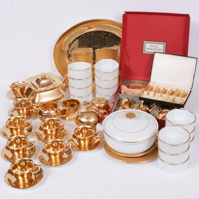 22 Karat on Porcelain Tea Set, Serveware and Compotes, Mid-20th Century