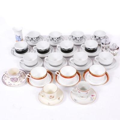 Richard Ginori, Rosenthal and Other Porcelain Teacups, Saucers and Table Décor