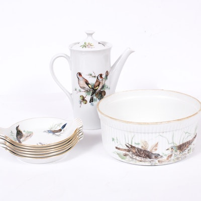 Mottahedeh and Lourioux Porcelain Serveware with Bird Motifs