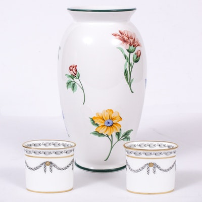 """Tiffany & Co. """"Sintra"""" Porcelain Vase and Hammersley Toothpick Holders"""