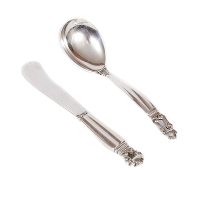 "Georg Jensen Sterling Silver ""Acorn"" Butter Spreader and Ladle"