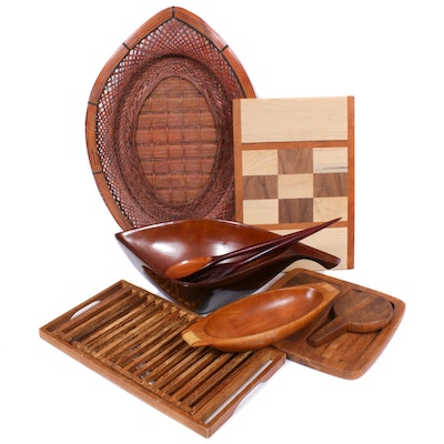 Dansk and Other Hardwood Serveware, Mid-20th Century