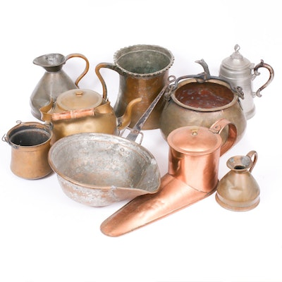 Copper, Copper Wash, Brass and Other Primitive Style Cookware